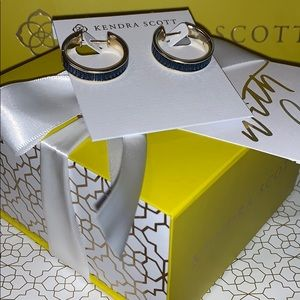 NWT-Kendra Scott Jack Gold Hoops in Blue Crystals